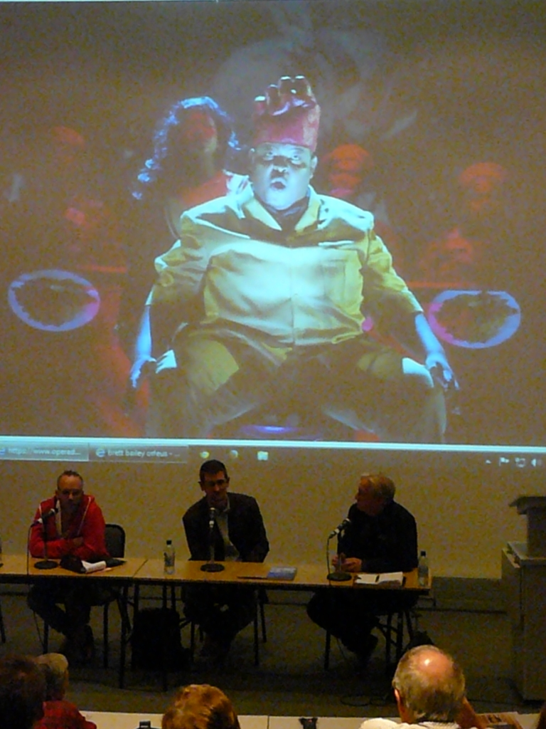 The panel discuss Shakespeare with Bailey's Macbeth looming overhead.