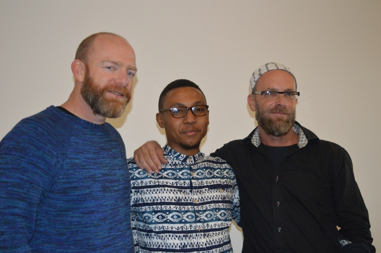 James Oatway, Lereko Mfono and Brett Bailey after their panel discussion.